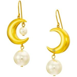 Tory Burch gold moon and pearl earrings